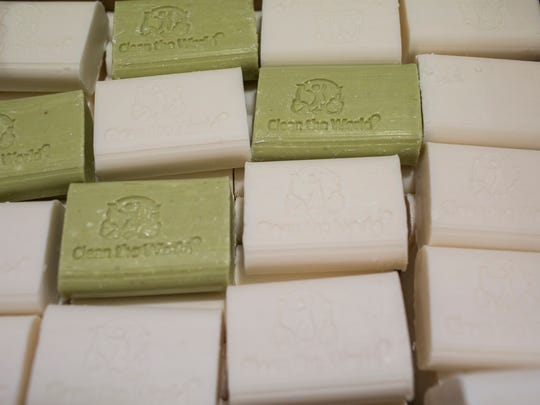 A box contains new recycled soaps from Clean the World.