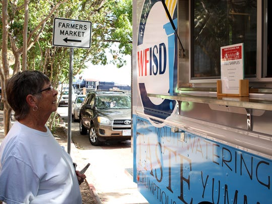 In this 2017 file photo, the WFISD food truck gave out free samples Oct. 21 at the Downtown Farmers Market.