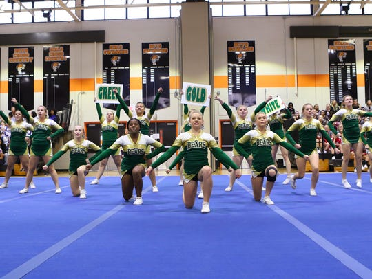 Vestal cheerleaders compete at the STAC fall cheerleading championships Oct. 22 at Union-Endicott High School.