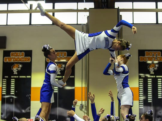 Horseheads cheerleaders compete at the STAC fall cheerleading championships Oct. 22 at Union-Endicott High School.