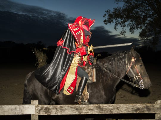 The Headless Horseman is among the characters you'll encounter during Hallowe'en in Greenfield village.