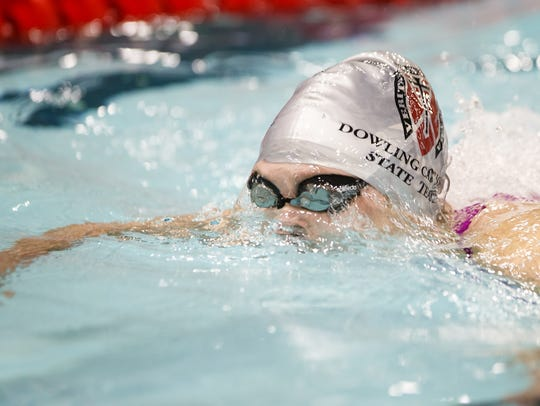 Dowling Catholics Caroline Schultz competes in the
