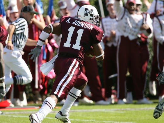 Mississippi State sophomore defensive back Anthony Johnson leaves the Alabama offense in the dust on a 100-yard pass interception to end the first half in MSU's win over Alabama in 2007.