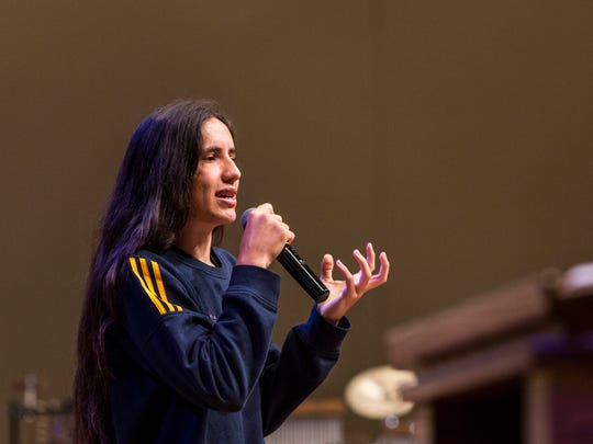 "Xiuhtezcatl Martinez, youth director of Earth Guardians, speaks to high school students during the ""Our Time, Our Voice"" MLK50 summit Nov. 10, 2017, at First Baptist Broad."