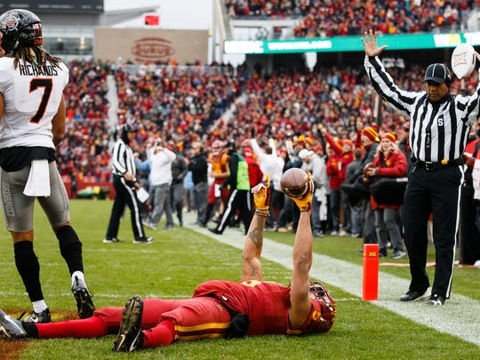 Iowa State Cyclones wide receiver Allen Lazard (5) celebrates a touchdown putting the Cyclones up 6-0 during the first half of their football game against Oklahoma State at Jack Trice Stadium on Saturday, Nov. 11, 2017, in Ames.