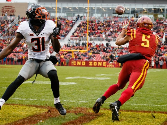 Iowa State Cyclones wide receiver Allen Lazard (5) catches a pass in the end zone to put the Cyclones up 6-0 during the first half of their football game against Oklahoma State at Jack Trice Stadium on Saturday, Nov. 11, 2017, in Ames.
