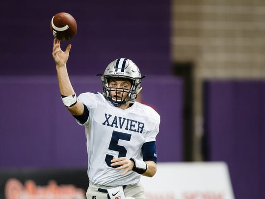 Cedar Rapids Xavier's Quinn Schulte returns from a dominate 2017 season that saw his team win the Iowa class 3A state championship.