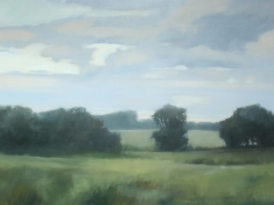 "Megan Lightell, ""Happily Ever After Farm, Lower Meadow,"" oil on canvas over panel, 48x72x2.5."