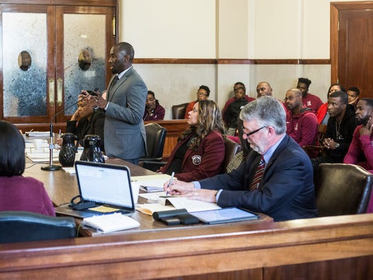 Kenneth M. Walker II, associate general counsel for Shelby County Schools, talks on behalf of East High School in Chancellor Jim Kyle's courtroom on Nov. 22, 2017. Kyle granted a temporary restraining order allowing two East High players to return to the court until at least a Dec. 7 hearing.