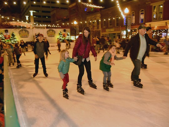 The ice skating rink on Market Square was full at the Christmas in the City kickoff, the Regal Celebration of Lights, in downtown Knoxville on Nov. 24, 2017.