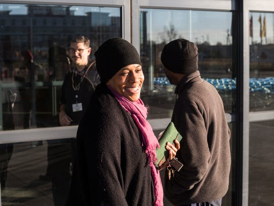 November 24, 2017 - Barecia Pitts smiles after being