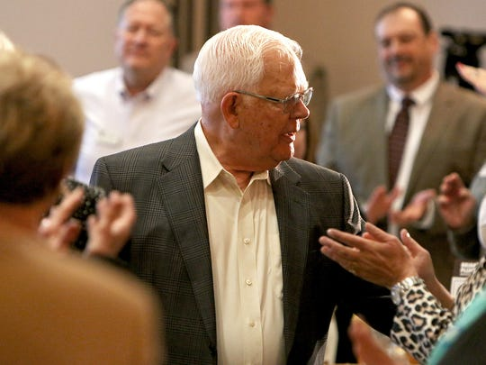Al Guinn reacts to being named the Wichitan of the Year Tuesday afternoon at the Wichita Falls Country Club.