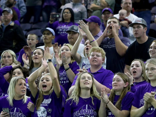 Jacksboro fans cheer in the final seconds of the playoff