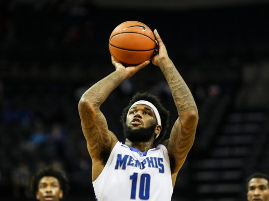 December 02, 2017 - Memphis' Mike Parks Jr. takes a free throw during Saturday's game versus the Mercer Bears at the FedExForum.