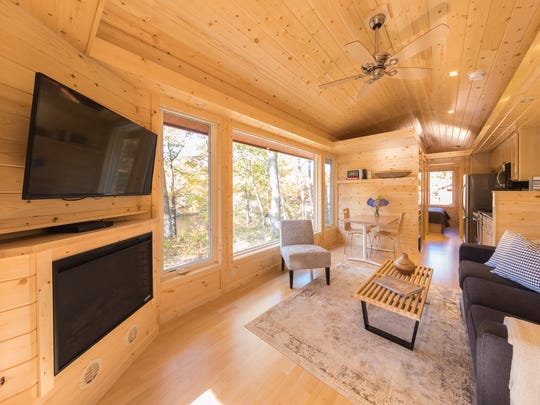 The tiny homes available for rent at the Canoe Bay