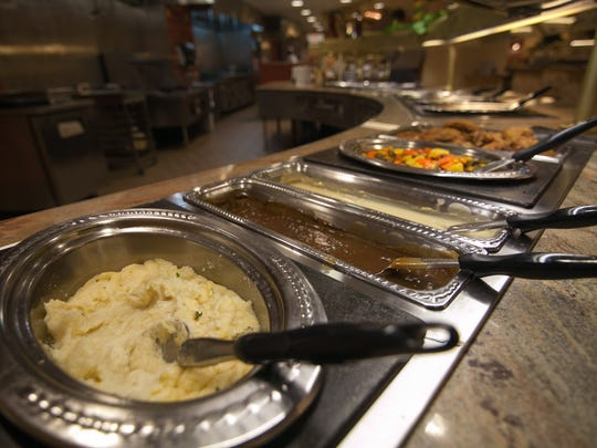 The buffet at Prairie Meadows? Triple Crown Eatery is open on Christmas Day so wear your loose pants. Jonathan Quinn/Special to Juice The Christmas decorated buffet at Prairie Meadows