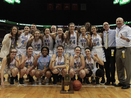 2017 Division I State Champions, The Mount Notre Dame Cougars.  Cincinnati Mount Notre Dame beat out Toledo Notre Dame Academy 54-44 to win the sixth State Championship in School history Saturday Night, March 18, 2017 in Columbus.