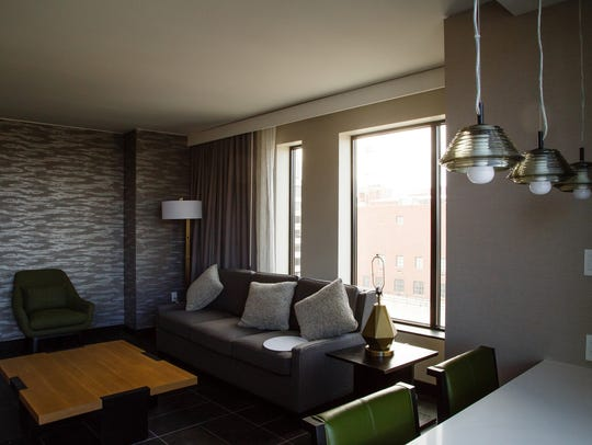 One of the suites inside the new Hilton Des Moines