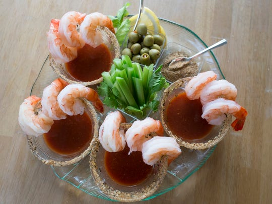 Shrimp Cocktail with Spicy Bloody Mary Sauce.