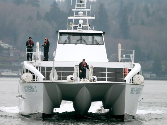 The Kitsap Transit passenger ferry Rich Passage 1 arrives