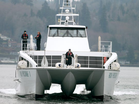 The Kitsap Transit passenger ferry Rich Passage 1 arrives in Bremerton on Wednesday.