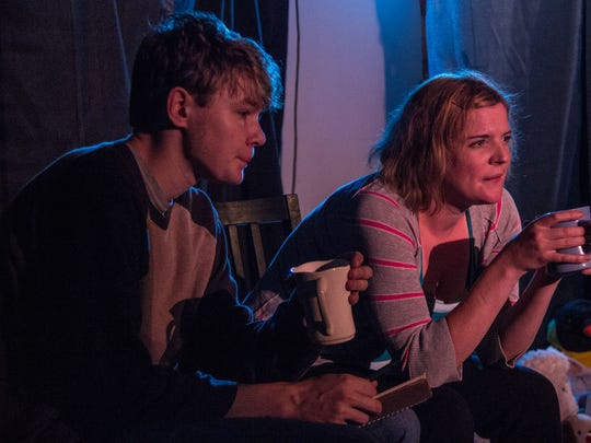 """Playwright's Trey Tatum's """"The Disappearance of Nicole Jacobs, part 1: The Sister,"""" featured at the Cincinnati Fringe Festival, was a supremely chilling drama. Here, you see Henry Eden and Miranda McGee in a scene from the show, which also starred Cassie Delicath."""