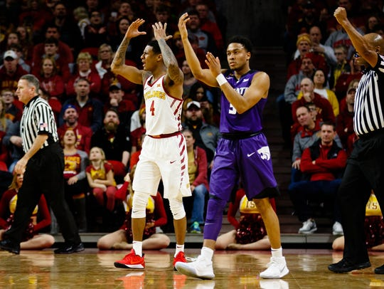 Iowa State senior guard Donovan Jackson (4) reacts