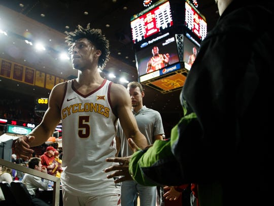 Iowa State freshman guard Lindell Wigginton (5) walks