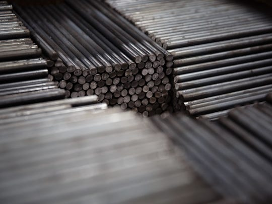 Steel bars sit ready to be welded at Sukup Manufacturing