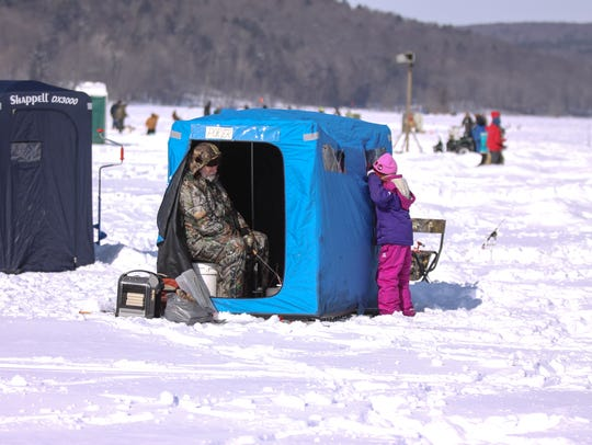 In 2014, ice fishing at the Almost-Annual Crappie Derby