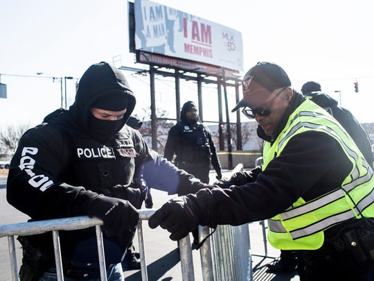 January 06, 2018 - Police at Health Sciences Park shut down roads and prepared for protesters to demonstrate against the recent removal of Confederate monuments.