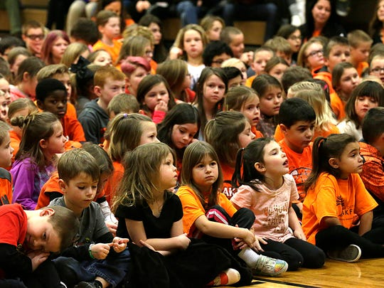 "Oakfield Elementary students gather Friday, January 5, 2018 for an assembly in the elementary gym to learn they have been selected as a ""Significantly Exceeds Expectations"" school for the 2016-2017 school year. Doug Raflik/USA TODAY NETWORK-Wisconsin"