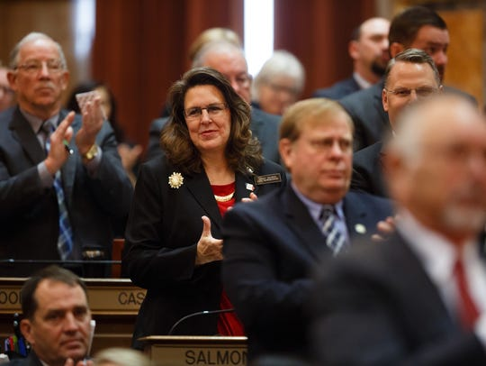 Representatives clap during Gov. Kim Reynolds' Condition of the State address on Tuesday, Jan. 9, 2018, in Des Moines.