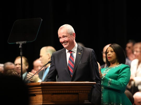 Gov. Phil Murphy gives his inaugural speech after being sworn in on Tuesday, Jan. 16.