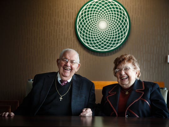 Sukup Manufacturing founders Eugene and Mary Sukup smile as they pose for a photo at their company's headquarters in Sheffield, Iowa, on Wednesday, Jan. 10, 2018. Eugene Sukup died Thursday at 89. The family said his wife of 66 years was at his side.