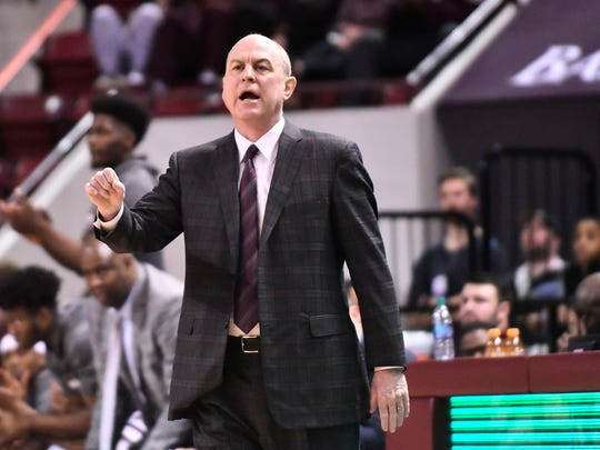 Feb 3, 2018; Starkville, MS, USA; Mississippi State Bulldogs head coach Ben Howland watches the action during the first half against the Georgia Bulldogs at Humphrey Coliseum. Mandatory Credit: Matt Bush-USA TODAY Sports