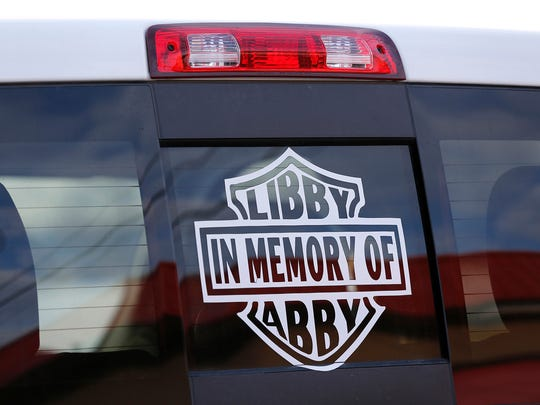 A large decal on Mike Patty's pickup honors his granddaughter Liberty German and her close friend Abigail Williams Wednesday, February 7, 2018, in Lafayette. German and Abigail Williams were murdered February 13, 2017, as they hiked the Moon High Bridge Trail just east of Delphi.