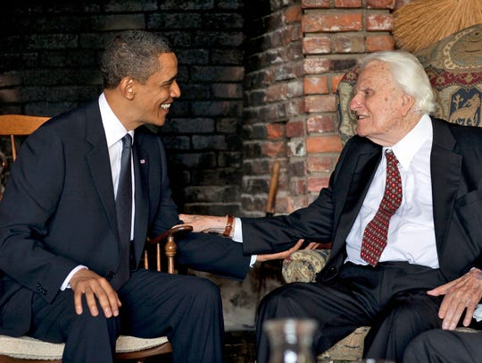 President Barack Obama meets April 25, 2010, with the Rev. Billy Graham, 91, at the evangelist's mountainside home in Montreat, N.C.