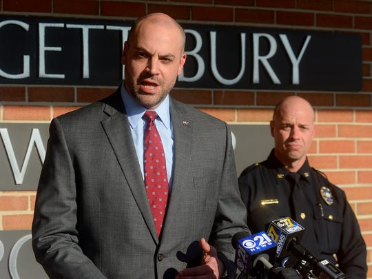 York County District Attorney David Sunday talks about the possible criminal charges stemming from threats of school violence during a press conference at Springettsbury Township Police Department, Wednesday, February 21, 2018. John A. Pavoncello