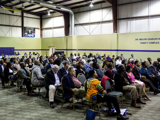 February 27, 2018 - Members of the public listen during the first Shelby County mayoral candidate forum at Mt. Moriah East Baptist Church. Out of the four candidates invited only Juvenile Court Clerk Joy Touliatos and Shelby County Commissioner Terry Roland appeared for the event.