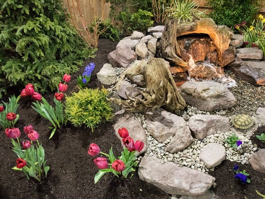 A fountain display by Songbird Ponds of Hanover during the PA Garden Show of York in Memorial Hall at the York Expo Center.