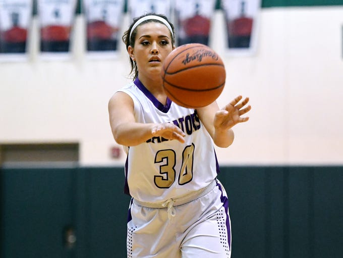 Fowlerville's Grace Wallace passes the ball during