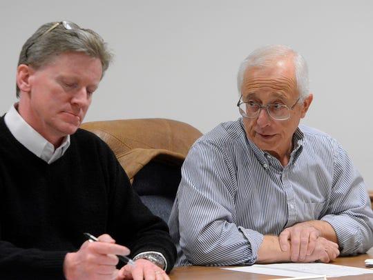 New Freedom Borough Councilman Bruce Merrill, right,