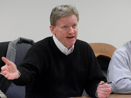"""New Freedom Borough Councilman Larry O'Brien """"comes clean"""" about the Council's decision to leave the Southern Regional Police Commission during a public council meeting, Monday, March 12, 2018. John A. Pavoncello"""