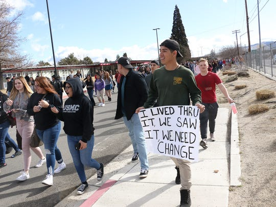 Students at Wooster High School in Reno participate