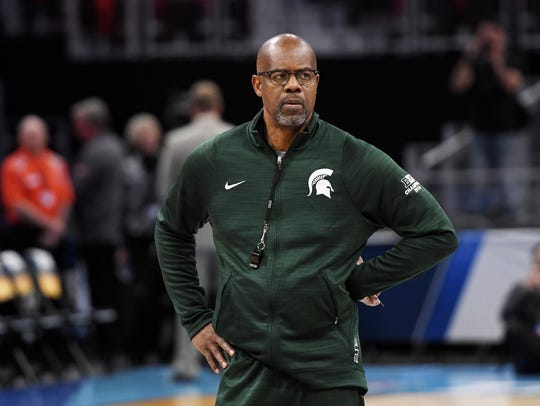 Michigan State's assistant coach Mike Garland looks