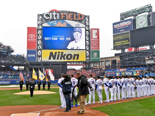 A photo of former New York Met Rusty Staub is displayed on the screen before the singing of the National Anthem. New York Mets face the St. Louis Cardinals on Opening Day at Citi Field in Flushing, NY on Thursday, March 29, 2018.
