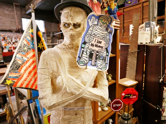 A mummy, one of the more unusual items for sale, Tuesday, April 3, 2018, at Chestnut Street Mercantile, 231 Chestnut Street in Lafayette. Chestnut Street Mercantile has an eclectic collection of items, from golf clubs, to furniture, to bicycles and more, all for sale. Proceeds benefit the YWCA and it's programs.