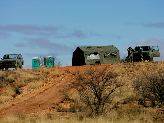 In this Jan. 19, 2007, file photo, one of the many outposts manned by the National Guard near the Arizona-Mexico border in Sasabe, Ariz., is shown.