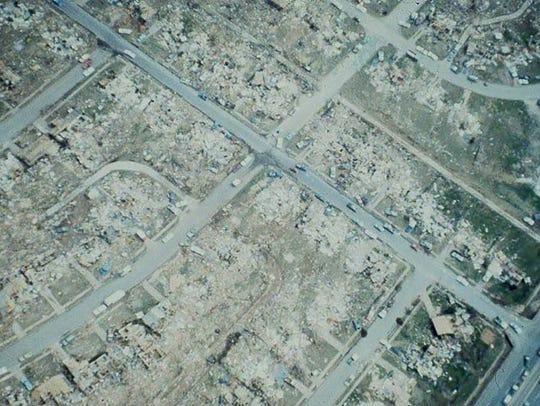 Areial damage of southwest Wichita Falls.